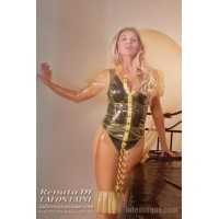 Transparent latex blouse with puffed sleeves (SA-SHI10)