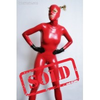Latex female zipperless catsuit (SA-CAT13-1)