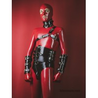 Heavy rubber harness over one shoulder