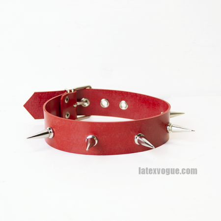 Red heavy rubber choker with spikes model.14