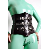 Heavy rubber corset with buckles