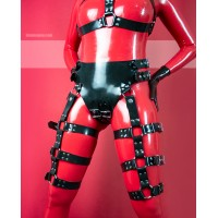 Heavy rubber panties with buckles and harness on thighs - KELLY