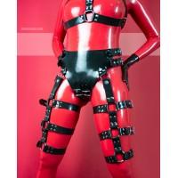 Heavy rubber kalhotky s přezkami a harnesy na stehna - KELLY