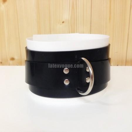 Heavy rubber černo-bílý obojek na krk