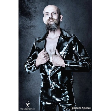 Heavy rubber biker jacket