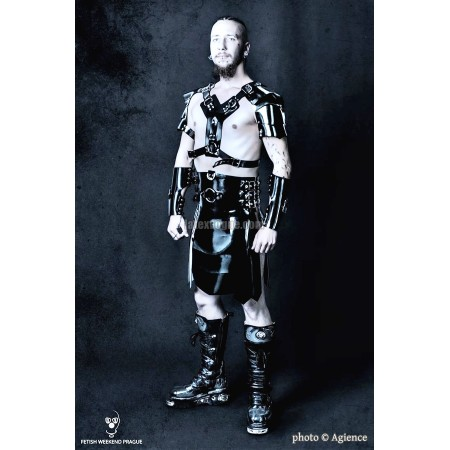 Heavy rubber kilt with buckles