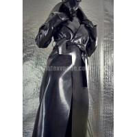 Long heavy rubber raincoat