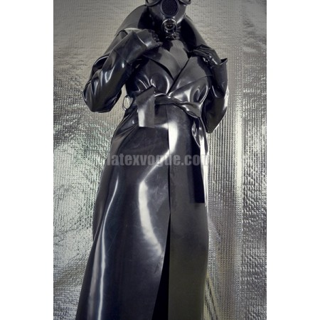 Long heavy rubber raincoat