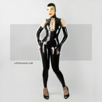 Female latex catsuit with lacing in the necline - DIDI