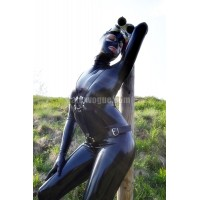 Female latex catsuit with zipper