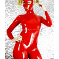 Latex zipperless neck entry catsuit with collar - female cut