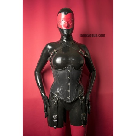 Latex corset with D-rings - DESTINY
