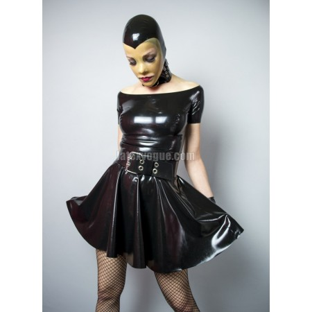 Latex boat neckline circle dress - BARBRA
