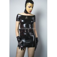Latex boat neckline minidress - BROOKE