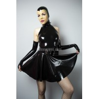 Latex high collar halter circle dress - ANGIE