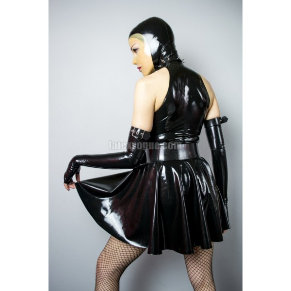 Latex High Collar Halter Circle Dress Angie