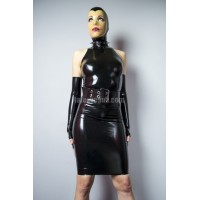 Latex high collar halter dress - AMY
