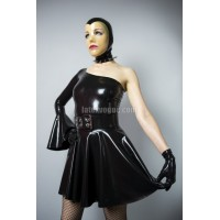 Latex one shoulder circle dress - CARRIE