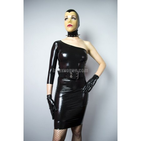 Latexové šaty na jedno rameno - CINDY