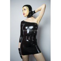 Latex one shoulder minidress - CLAUDIA