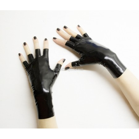 Latex anatomical fingerless gloves - short