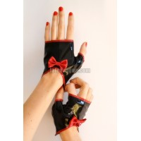 Latex mitts with bow