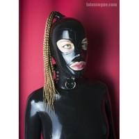 Latex hood with hole for ponytail - JAYLA
