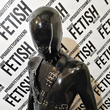 Latex hood with zippers over eyes - Alien