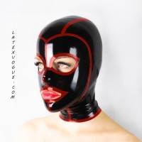 Latex striped hood