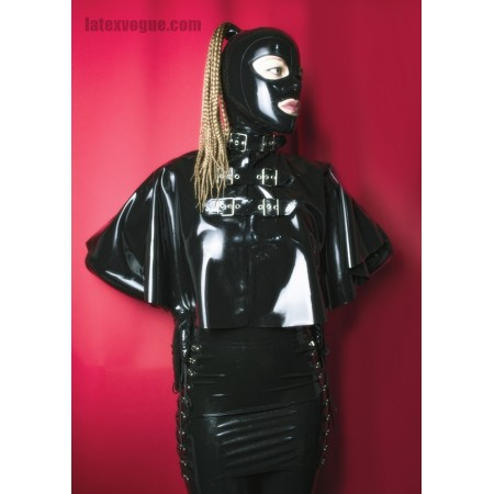 Latex cape with buckles