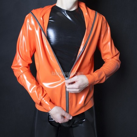Latex jacket with hood