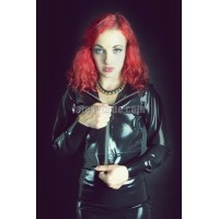 Latex short jacket with a hood