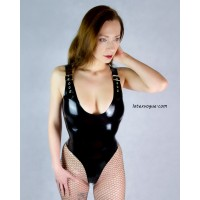 Latex leotard with buckles  - JULIA