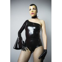 Latex leotard with frill on the sleeve
