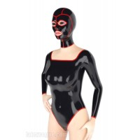Latex wide neck leotard