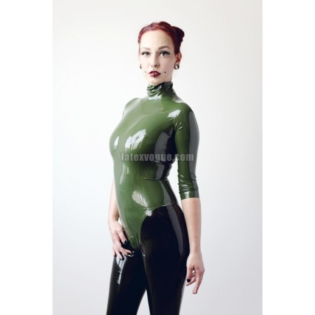 Latex leotard with collar