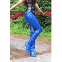 Latex trousers with marked pockets