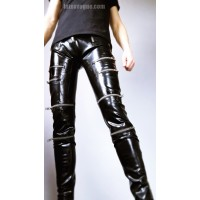 Latex trousers with zippers - RYAN
