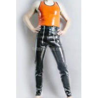 Latex trousers with zippers