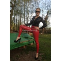 Tight latex trousers with marked pockets