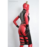 Latex backless skirt with buckles