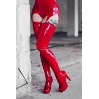 One color latex stockings