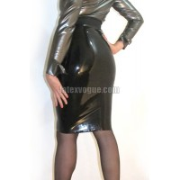 Fitted latex knee length skirt
