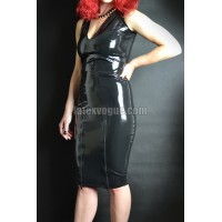 High waist latex skirt with two front zippers