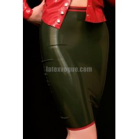 Latex knee lenght skirt with stripes