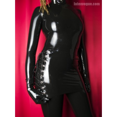 Latex mini skirt with lacing on the sides