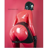 Latex spank backless skirt with buckle