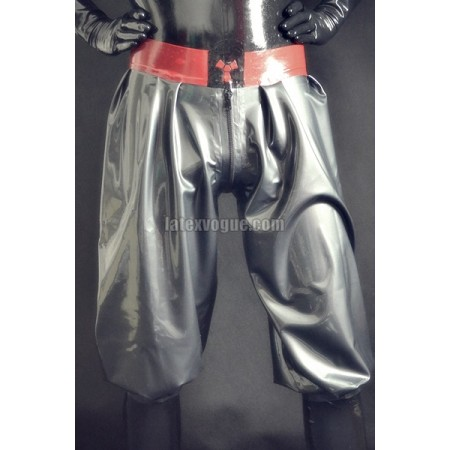Latex jogging capri pants with logo