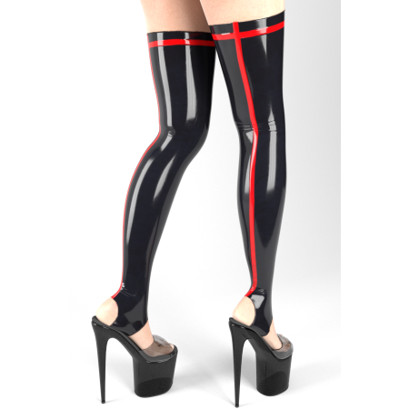 Stirrup latex stockings with trim - LINDE