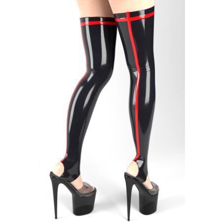 Latexové punčochy bez chodidla s proužkem - LINDE